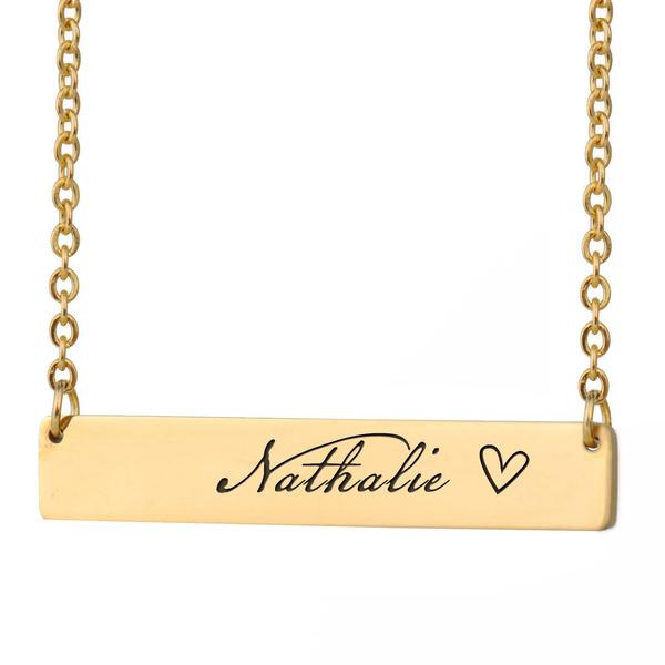 customnamenecklace, Jewelry, nameplate, barnecklace
