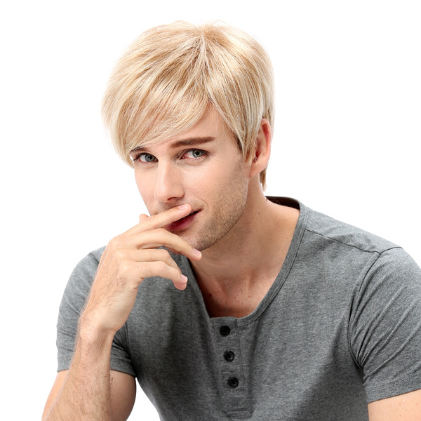Mens Wig Ombre Blonde Short Straight Synthetic Hair For Male Guy Anime Cosplay Costume Party Daily 12 Wish