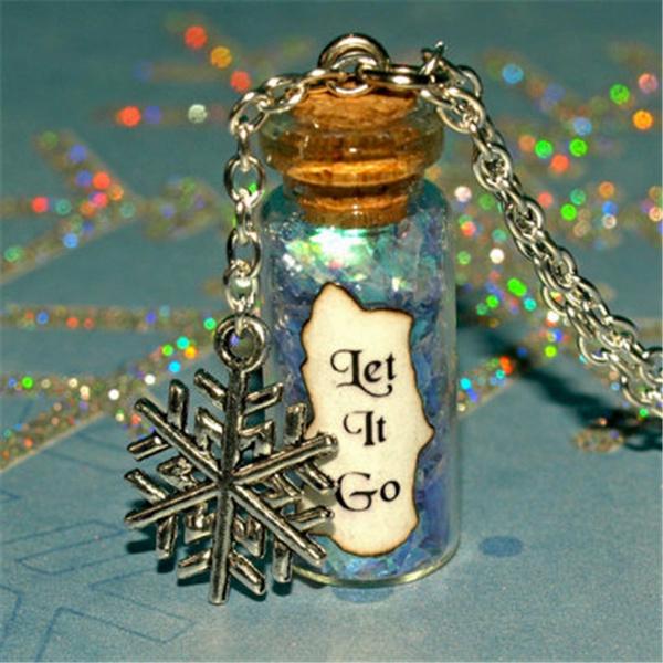 Bottle, bronzechainnecklace, Jewelry, Glass