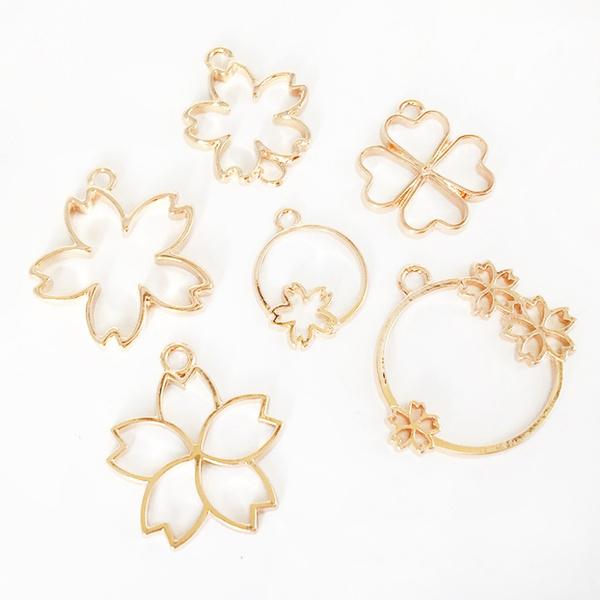 pendantframe, Jewelry, gold, cherryblossom