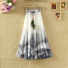 Summer, long skirt, chiffon, Vintage