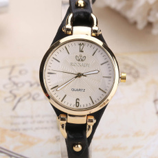dial, quartz, Gifts, leather strap