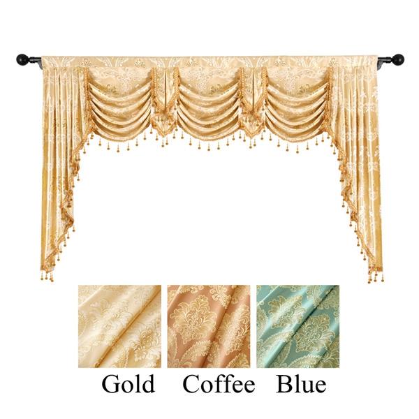 Damask Curtain Valance For Window, Living Room Valances