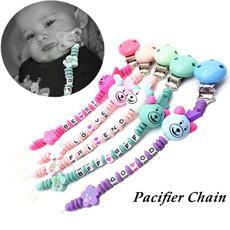 cute, Chain, pacifierchain, Wooden
