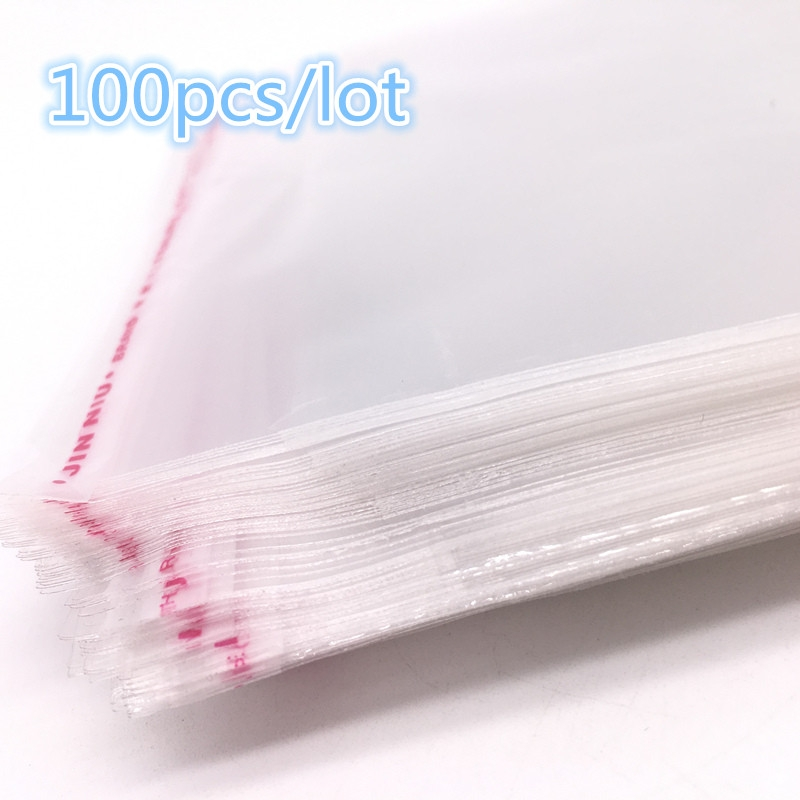 100Pcs//Bag OPP Clear Seal Self Adhesive Plastic Jewelry Home Packing Bags AB