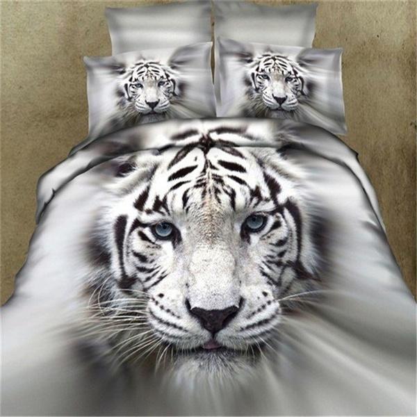 New Fashion 3d White Tiger Bedding Set, Bengals Queen Bedding