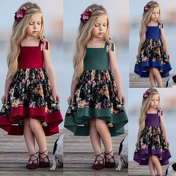 New Fashion Kids Girl Clothing Strappy Floral Print Knee Length Dress Cute Toddler A Line Casual Princess Little Teen Summer Outfit Girls Newborn 5t Wish
