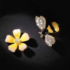 flowerbeeearring, Jewelry, Earring, asymmetric