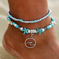 Bead, turquoisebracelet, Sandals, ankletchain