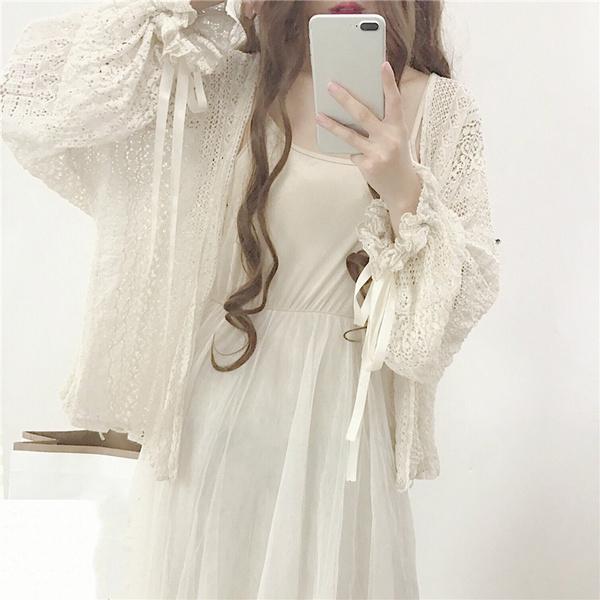 Kawaii, cardigan, Lolita fashion, Lace