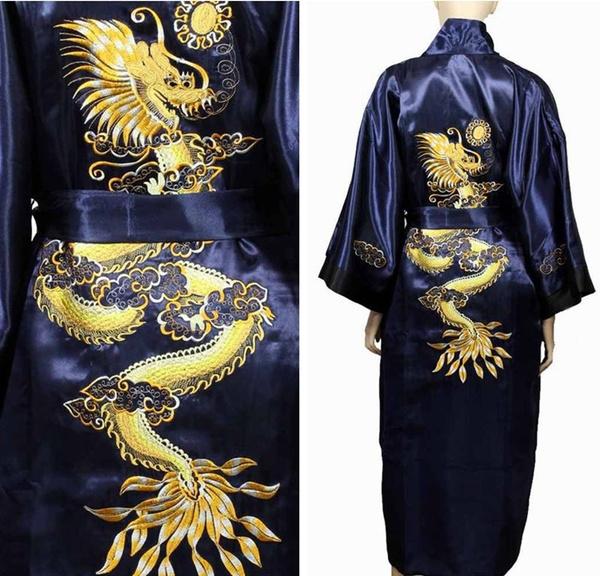 Chinese, Loose, Bathrobe, dragon