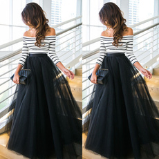party, long skirt, Fashion, off the shoulder top