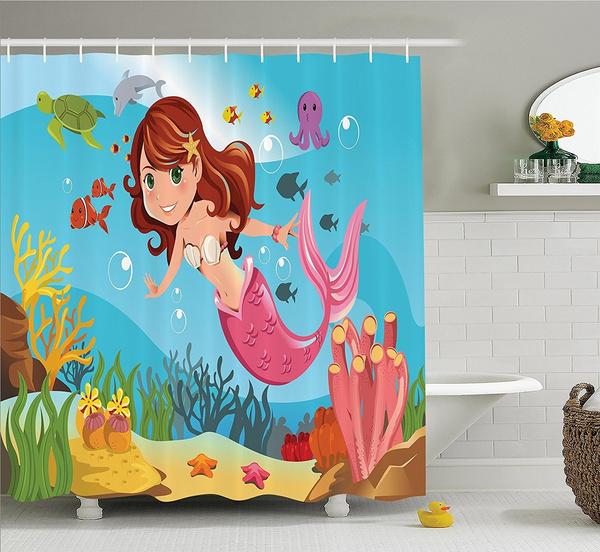 Little Mermaid Shower Curtain Set, Little Mermaid Bathroom Accessories