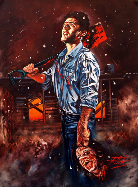 shovel, art, oilpaintingprint, horrorart