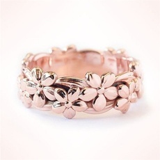 Flowers, wedding ring, gold, blossom