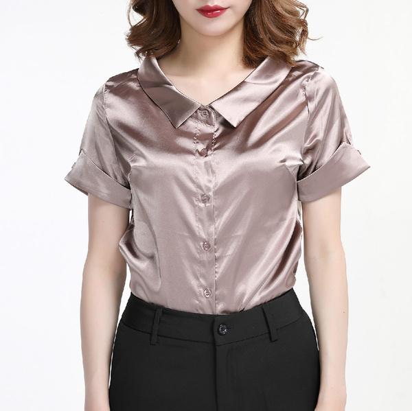 blouse, satinshortsleeveshirt, Fashion, Shirt