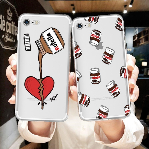Nutella Love Heart Painted Silicone Soft Phone Cases for iPhone X 7 8 6 6s Plus for Huawei P20 P10 P9 P8 Lite 2017 for Samsung Galaxy S6 S7 Edge S8 S9 ...