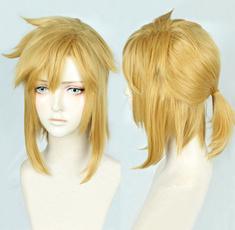 wig, golden, Shorts, pony
