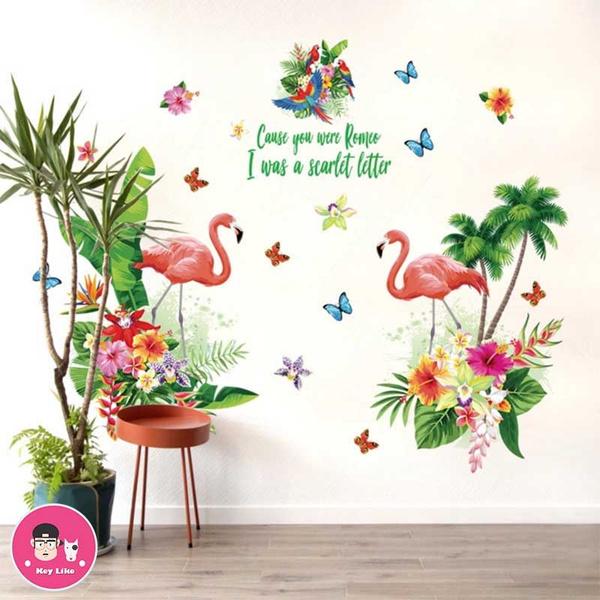 PVC wall stickers, flamingo, living room, diywallsticker
