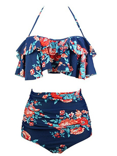 Plus Size, women beachwear, Halter, Womens swimwear