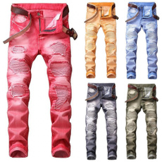 men jeans, Pleated, Gray, rippedjean