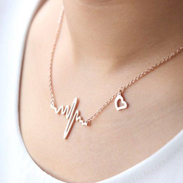 ekgcharmnecklace, Jewelry, heartbeatnecklace, electrocardiogramgift