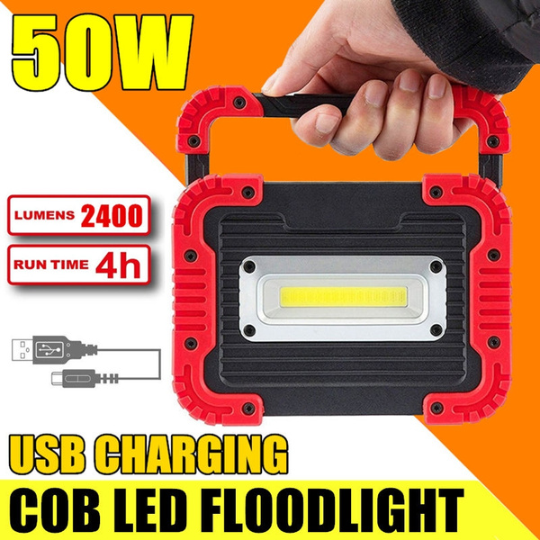 50W LED Portable USB Rechargeable Worklight Flood Light with Power Bank Function