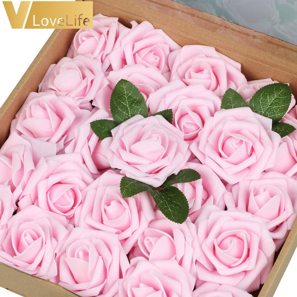 25pcs Artificial Flowers Rose Heads Artificial Rose Flower Fake Rose Flower Real Looking Rose Flower For Diy Wedding Bouquets Party Home Decor Wish