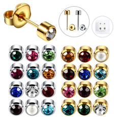 Steel, Stud, Jewelry, birthstoneearring