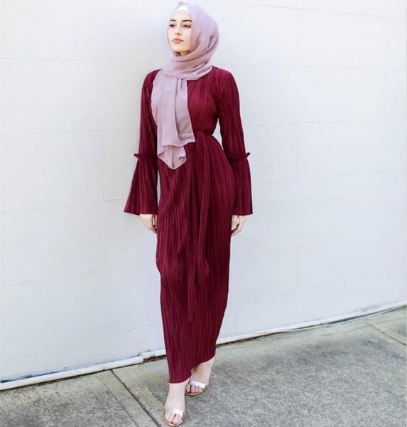 Slim Fit, pleated dress, long dress, kaftandresse