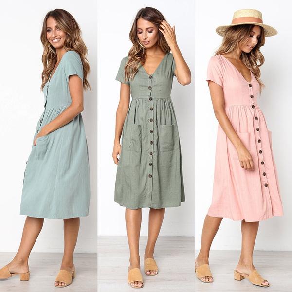 Summer, Fashion, Necks, A-line