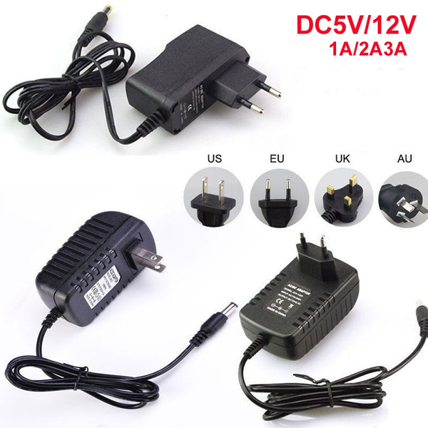 Ac 100 240v To Dc 12v 5v 1a 2a 3a Power Supply Power Charger Us Eu Au Uk Plug Power Supply For 5050 3528 Led Strip Light Wish