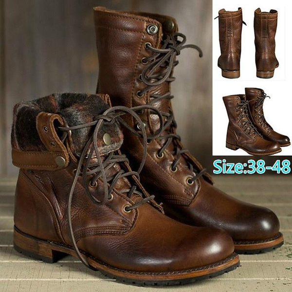 Men Cool Leather Boots Casual Lace