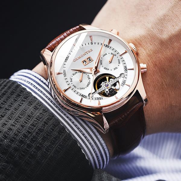 Steel, automaticmechanicalwatch, Fashion, business watch