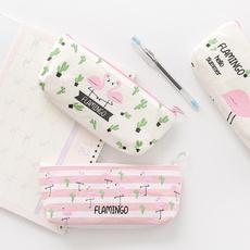 case, pencilcase, pencilbag, flamingo