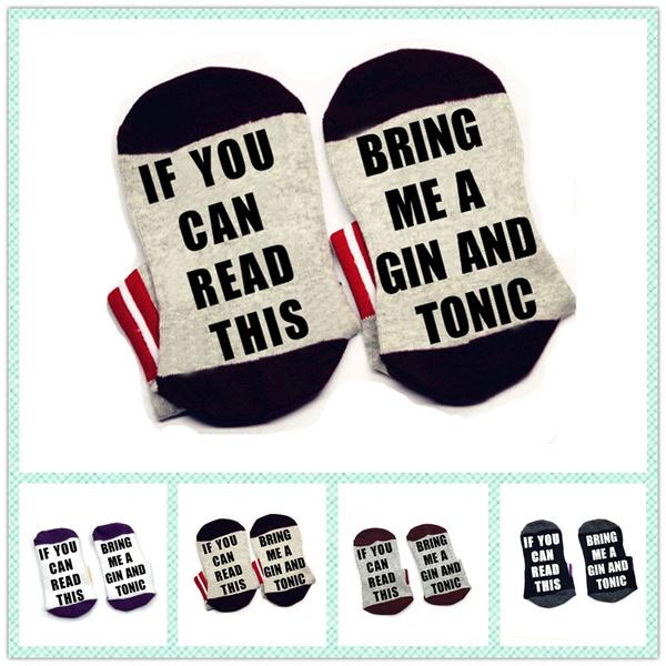 ifyoucanreadthi, Cotton Socks, bringmeaginandtonicsock, unisex