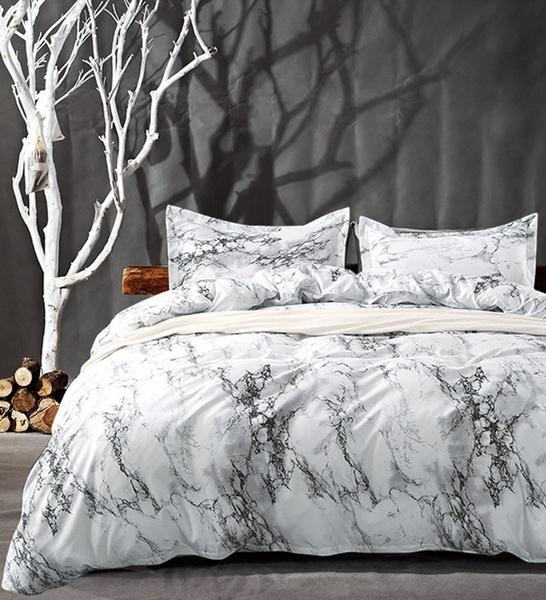 Queen Bedding Duvet Cover Set White, Marble Queen Bedding