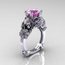 Sterling, DIAMOND, wedding ring, pink sapphire