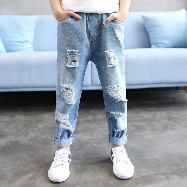 Boys Clothing Jeans Elastic Waist Cotton Children Broken Hole Pants Ripped  Jeans For Boys Jeans For Boy | Wish