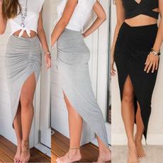 Gray, long skirt, summer dress, high waist