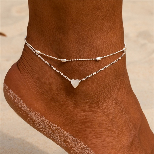 Charm Jewelry, barefoot, Anklets, Love