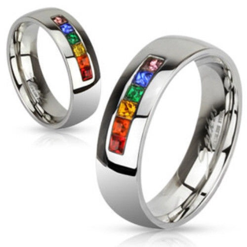 Steel, rainbow, wedding ring, gay