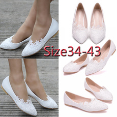 Flats, Ballet, Lace, pointed