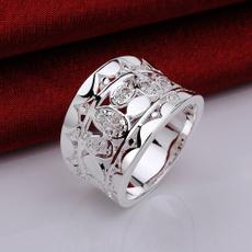 Sterling, crystal ring, wedding ring, Silver Ring