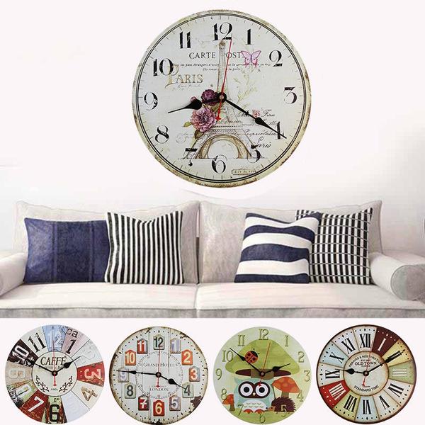 Home Room Antique Decor Wall Clocks Decoration Vintage Kitchen Clock Striking Wish