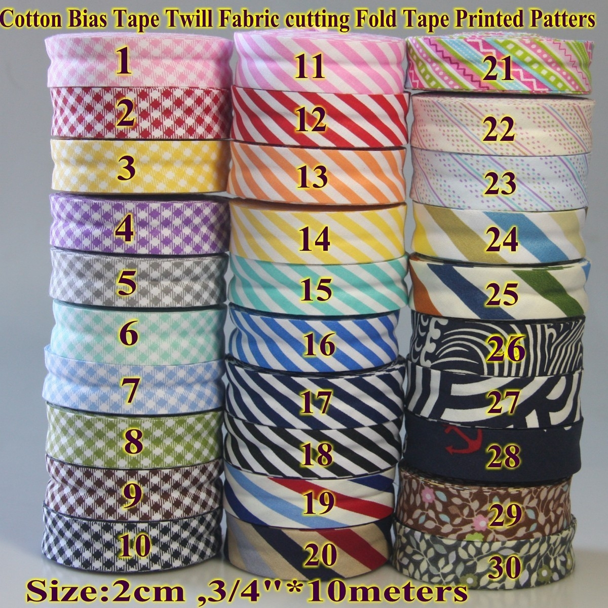 Single Fold Various Colors Cotton Bias Binding Tape 10meters-10.93yds Red DIY Garment Accessories 20mm-13//16inch