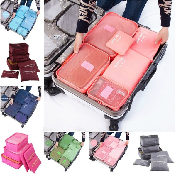 6Pcs//Set Travel Storage Bag for Clothes Luggage Packing Cube Organizer Suitcase