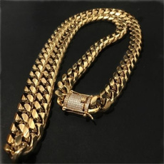 Steel, goldplated, Chain Necklace, hip hop jewelry