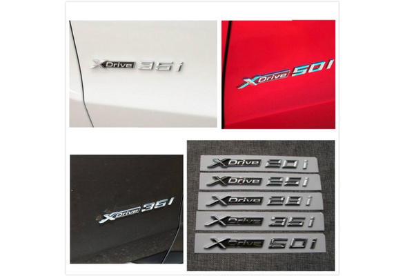 Chrome XDrive 35d Letters Number Trunk Emblem Badge Sticker for BMW XDrive 35d