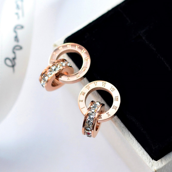 Fashion, stainless steel earrings, Stud, gold